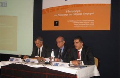 Andreas Andreadis, president of the Hellenic Federation of Hoteliers; Nikos Angelopoulos, president of SETE; and George Drakopoulos, general director of SETE.