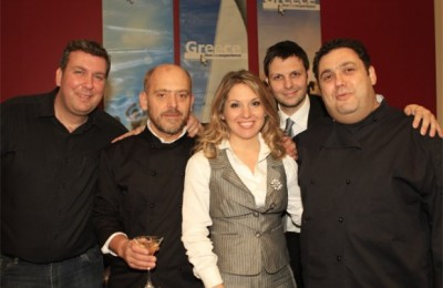 Aristotelis Papadopoulos, world's best bartender; Stelios Parliaros, Greek chef/pastry-cook; Sofia Panagiotaki, GNTO director for UK and Ireland; Alexandros Konstantinou, GNTO press officer for UK and Ireland; and Christoforos Peskias, Greek chef.