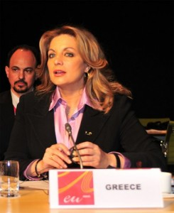 Deputy Culture and Tourism Minister Angela Gerekou at the Informal Meeting of Tourism Ministers in Madrid.